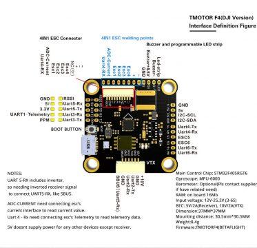 T-Motor F4 (DJI HD verzió) Repülés vezérlő